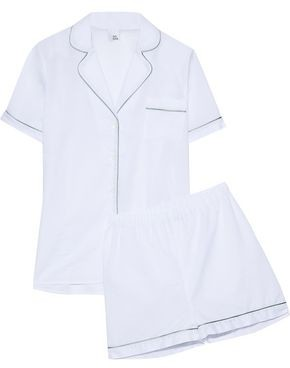 Iris & Ink Bailey Metallic-Trimmed Cotton-Gauze Pajama Set