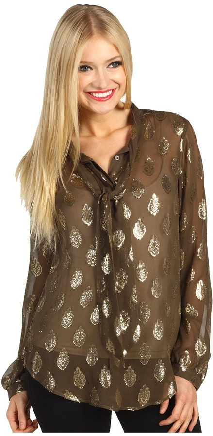 Hale Bob Sparkle Like No Other Tie Front Top (Taupe) - Apparel