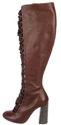 Chloé Leather Round-Toe Over-The-Knee Boots