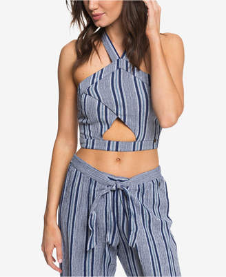 Roxy Juniors' Jessa Striped Cropped Cutout Halter Top