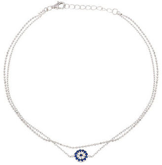 Lord & Taylor Cubic Zirconia, 18K White Gold and Sterling Silver Evil Eye Charm Anklet $45 thestylecure.com
