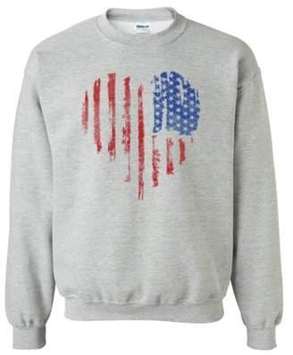 Custom Apparel R Us Distressed American Flag Heart Patriotic Clothing Unisex Crewneck Sweatshirt
