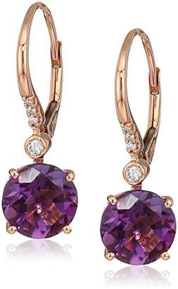Effy Womens 14K Rose Gold Amethyst Drop Earrings