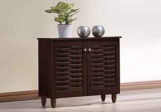 Baxton Studio Wholesale Interiors Winda Modern and Contemporary 2-Door Dark Brown Wooden Entryway Shoes Storage Cabinet
