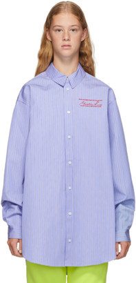Martine Rose Blue Bonded Stripe Oversize Shirt