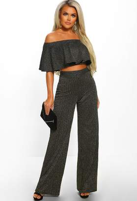 bb8d0c08174 Pink Boutique Glitz   Glamour Gold Lurex Stripe High Waisted Wide Leg  Trousers