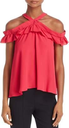 Moschino Cold-Shoulder Ruffled Silk Top