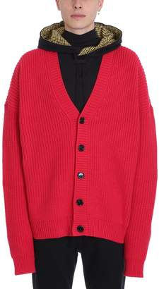 Raf Simons Red Wool Cardigan