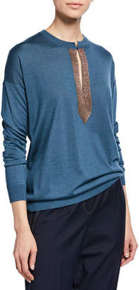Brunello Cucinelli Monili Henley Cashmere-Silk Pullover Sweater