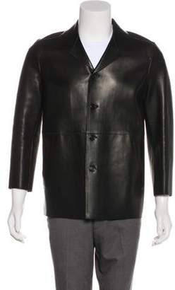 Prada Button-Up Leather Jacket black Button-Up Leather Jacket