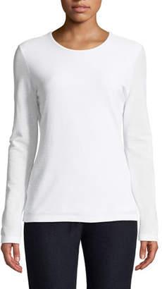 St. John Double Layer Mesh Long-Sleeve Shirt