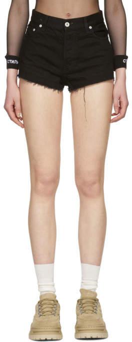Heron Preston Black Fringed Denim style Shorts