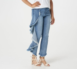 Peace Love World Medium Wash Side Ruffle Ankle Jeans