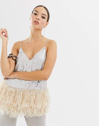 Asos DESIGN sequin cami with faux feather trim