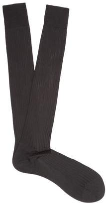 Pantherella - Baffin Ribbed Knit Silk Socks - Mens - Black