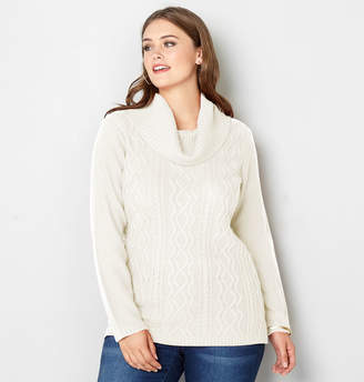 Avenue Cowlneck Cable Knit Sweater