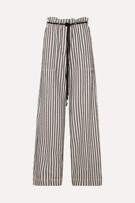Ann Demeulemeester Belted Striped Cotton And Ramie-blend Wide-leg Pants - Ecru
