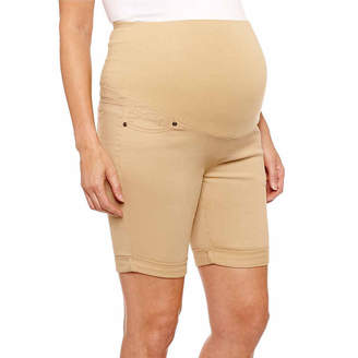 PLANET MOTHERHOOD Planet Motherhood 7 Denim Bermuda Shorts - Plus Maternity