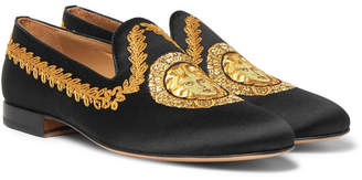 Versace Embroidered Satin Loafers