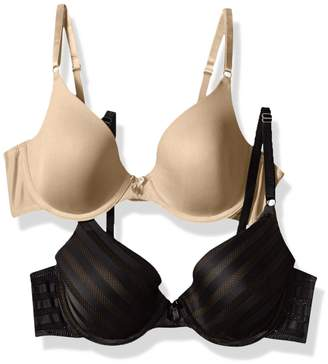 Maidenform Women's 2 Pack Demi Bra, Black/Body Beige