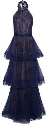 Marchesa Tiered Pleated Lace Halterneck Gown
