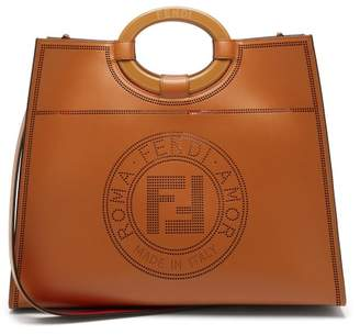 Fendi Runaway Medium Perforated Logo Leather Tote - Womens - Tan Multi