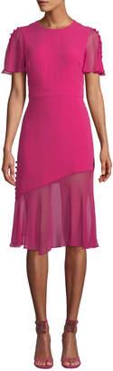 Prabal Gurung Victoria Fluttered Sheer-Sleeve Midi Dress