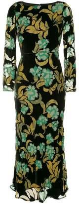 Saloni velvet azaela print dress