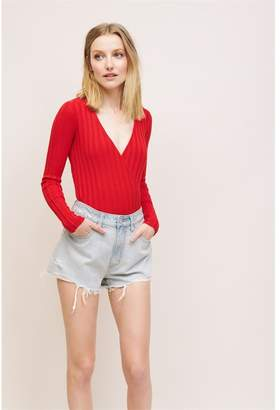 Dynamite Long Sleeve Wrap Sweater Tomato Red