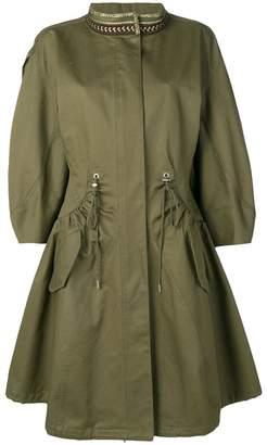Alberta Ferretti embroidered collar parka coat