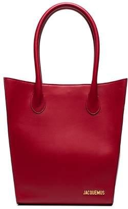 Jacquemus Red Le Petit Baya leather tote bag
