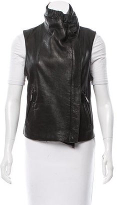 Andrew Marc Leather Moto Vest $250 thestylecure.com
