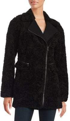 Catherine Malandrino Faux Fur Mid Length Asymmetrical Zipper Coat