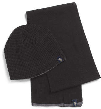 2pc Sherpa Lined Beanie And Scarf Gift Set