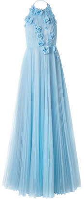 Jason Wu Collection - Appliquéd Pleated Tulle Halterneck Gown - Light blue