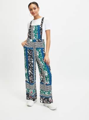 Miss Selfridge Green Kelly Spliced Print Pinafore Jumpsuit