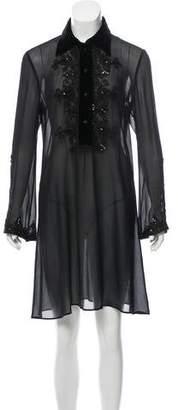 Blumarine Semi-Sheer Knee-Length Dress