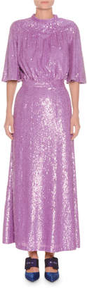 ATTICO Mock-Neck Short-Sleeve Sequined Evening Gown