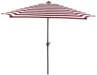 Asstd National Brand 9' Outdoor Patio Market Umbrella with Hand Crank and Tilt - Burgundy and White Stripe