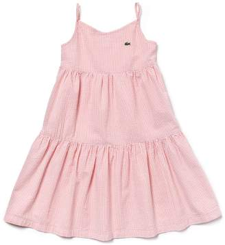 Lacoste Girls' Strappy Cotton Seersucker Dress