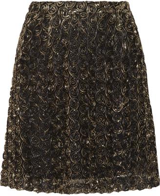 ALICE by Temperley Donna lamé rosette-appliquéd tulle mini skirt $450 thestylecure.com