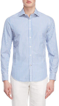 Ganesh White & Blue Stripe Shirt
