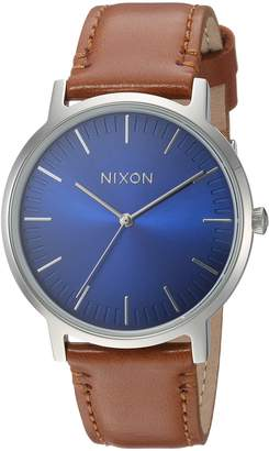 Nixon Men's 'Porter' Quartz Stainless Steel and Leather Casual Watch, Color:Black (Model: A10582694)