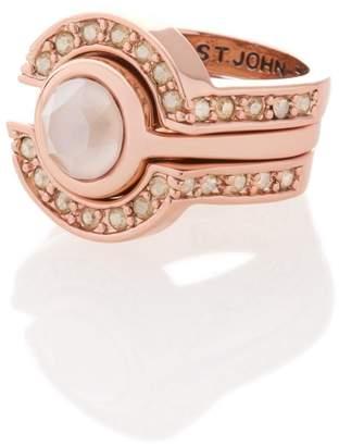 St. John Swarovski Crystal 3 Ring Set