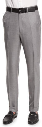 Brioni Flat-Front Twill Trousers, Light Gray