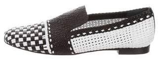 Stuart Weitzman Round-Toe Woven Leather Loafers
