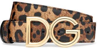 Dolce & Gabbana Reversible Leopard-print Textured-leather Belt - Leopard print