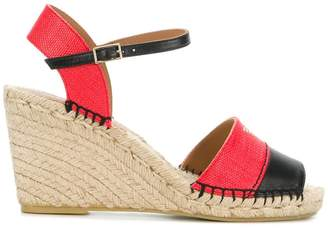 Emporio Armani colour block logo wedge sandals