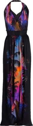 Balmain Tropical Print Halter Neck Belted Silk Maxi Dress