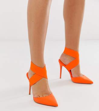 b6d2399d3a87 Asos Design DESIGN Wide Fit Payback elastic high heels in neon orange